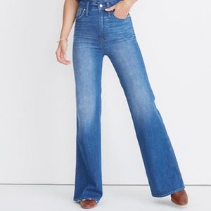 100% cotton high waisted Madewell flare jeans